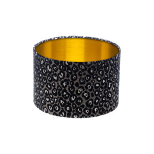 Leopard Print Drum Lampshade Brushed Gold Inner