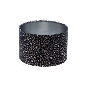 Leopard Print Drum Lampshade Brushed Silver Inner
