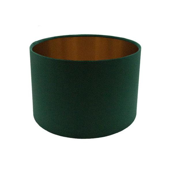 Voyage Emerald Green Velvet Drum Lampshade Brushed Copper Inner