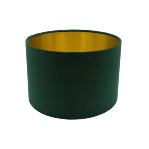 Voyage Emerald Green Velvet Drum Lampshade Brushed Gold Inner