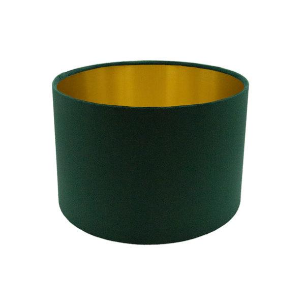 Voyage Emerald Green Velvet Drum Lampshade Brushed Gold Inner