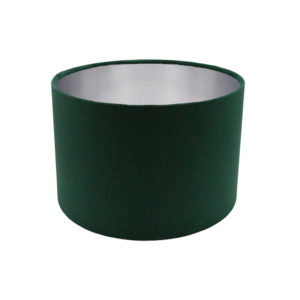 Voyage Emerald Green Velvet Drum Lampshade Brushed Silver Inner