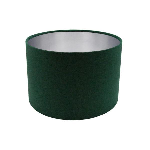 Voyage Emerald Green Velvet Drum Lampshade Brushed Silver Inner
