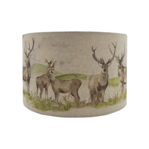 Voyage Moorland Stag Drum Lampshade Champagne Inner