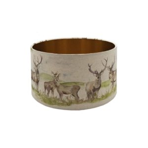 Voyage Moorland Stag Drum Lampshade Brushed Copper Inner