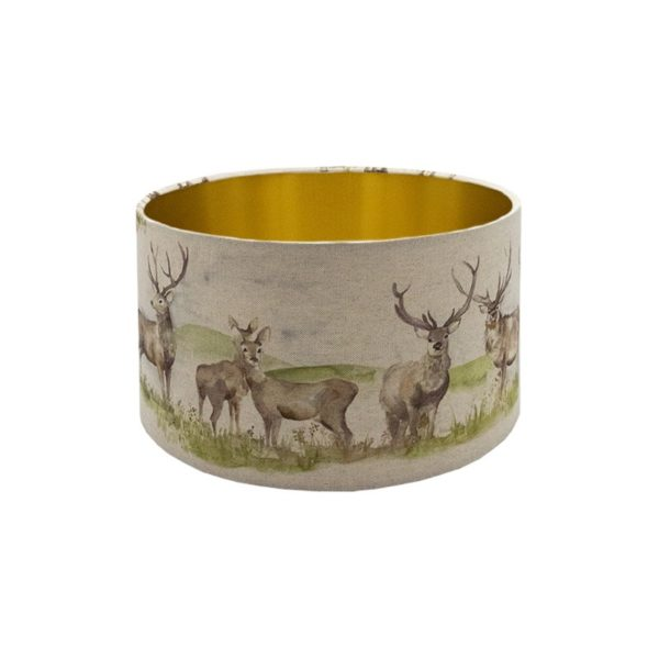 Voyage Moorland Stag Drum Lampshade Brushed Gold Inner