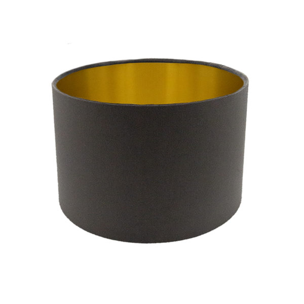 Voyage Slate Grey Velvet Drum Lampshade Brushed Gold Inner