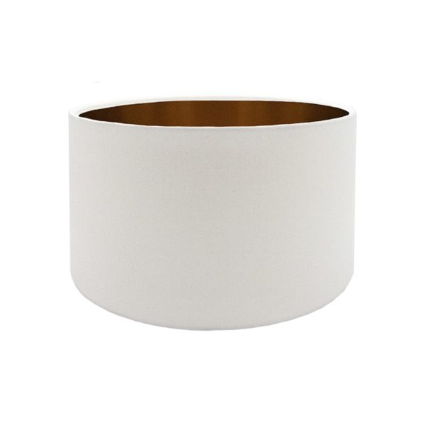 White Drum Lampshade Brushed Copper Inner