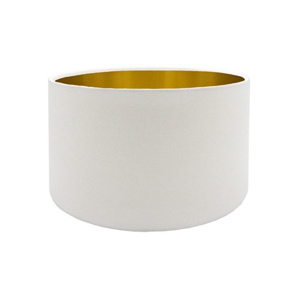 White Drum Lampshade Brushed Gold Inner