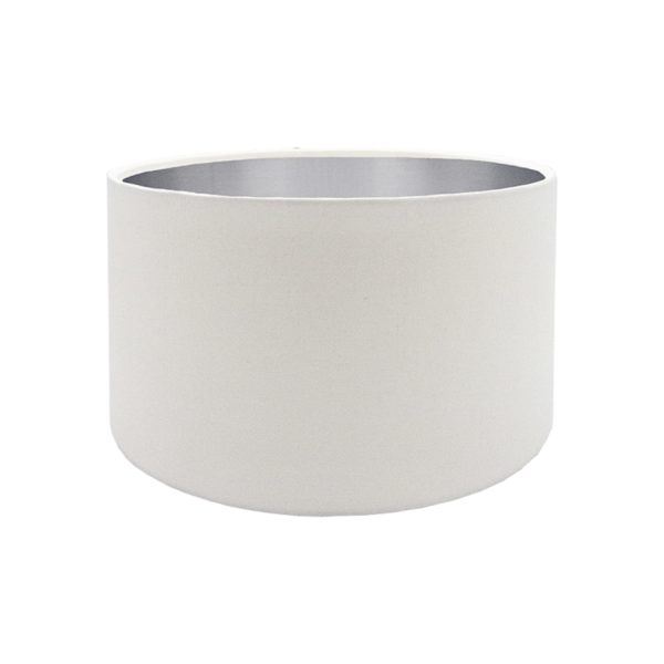 White Drum Lampshade Brushed Silver Inner