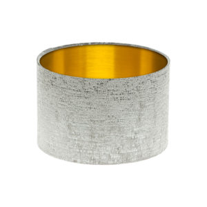 Zink Grey Velvet Drum Lampshade Brushed Gold Inner