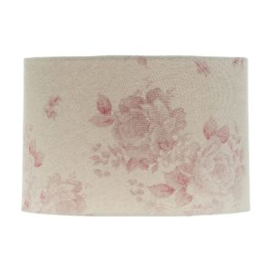 Red Faded Rose Floral Drum Lampshade