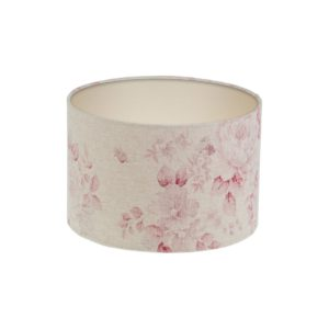 Red Faded Rose Floral Drum Lampshade Champagne Inner