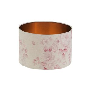 Red Faded Rose Floral Drum Lampshade Brushed Copper Inner