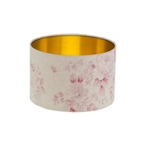 Red Faded Rose Floral Drum Lampshade Gold Inner