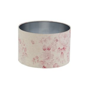 Red Faded Rose Floral Drum Lampshade Silver Inner