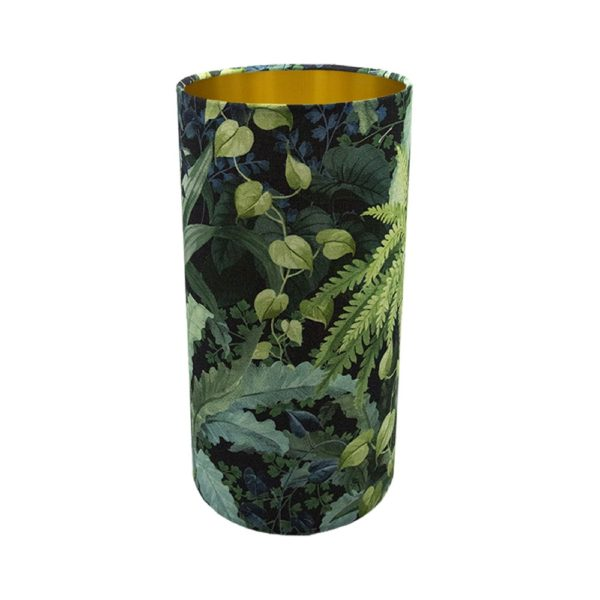 Botanical Tall Drum Lampshade Brushed Gold Inner