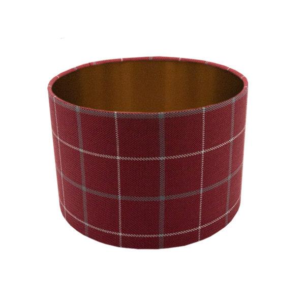 Exford Cherry Tartan Drum Lampshade Brushed Copper Inner