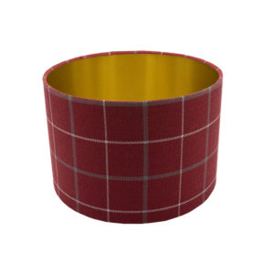 Exford Cherry Tartan Drum Lampshade Brushed Gold Inner