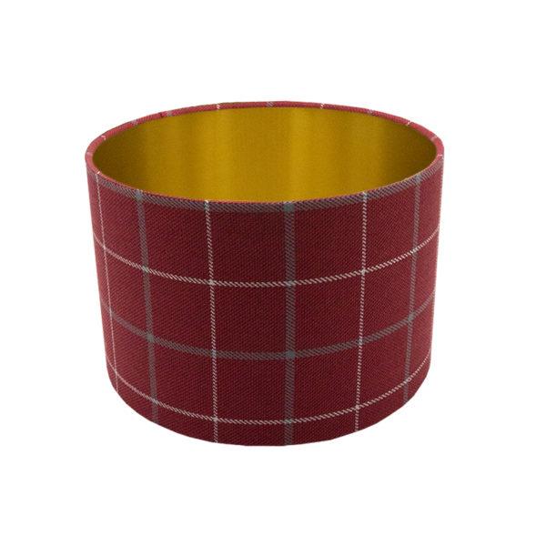 Exford Cherry Tartan Drum Lampshade Brushed Gold Inner