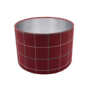 Exford Cherry Tartan Drum Lampshade Brushed Silver Inner