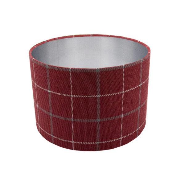Exford Cherry Tartan Drum Lampshade Brushed Silver Inner