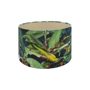 Jungle Parrot Drum Lampshade Champagne Inner