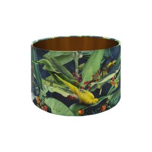Jungle Parrot Drum Lampshade Brushed Copper Inner