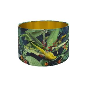 Jungle Parrot Drum Lampshade Brushed Gold Inner