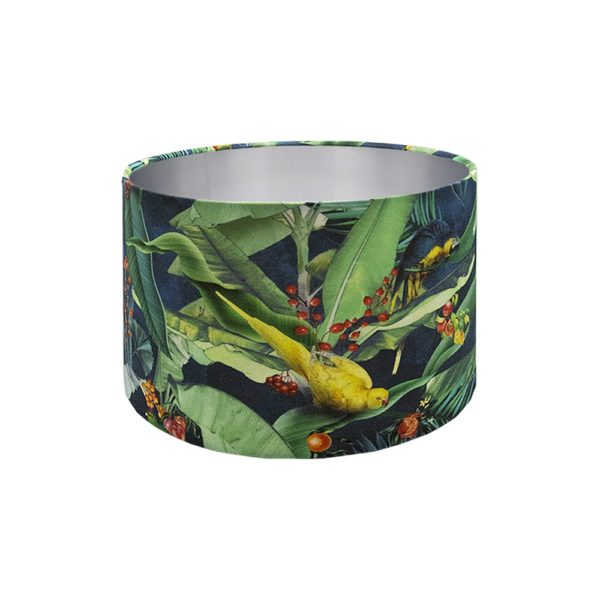 Jungle Parrot Drum Lampshade Brushed Silver Inner