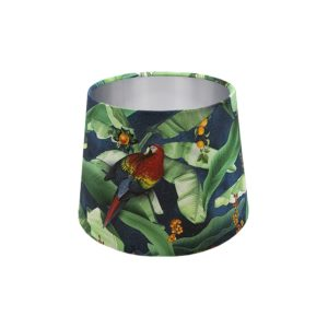 Jungle Parrot French Drum Lampshade Silver Inner