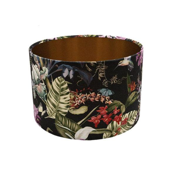 Tropical Floral Velvet Drum Lampshade Brushed Copper Inner