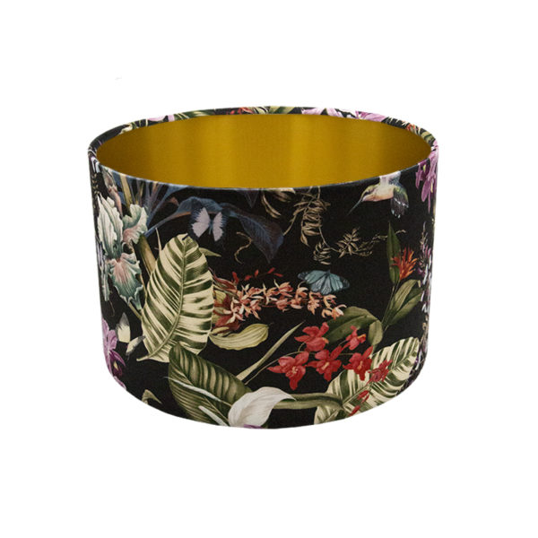 Tropical Floral Velvet Drum Lampshade Brushed Gold Inner