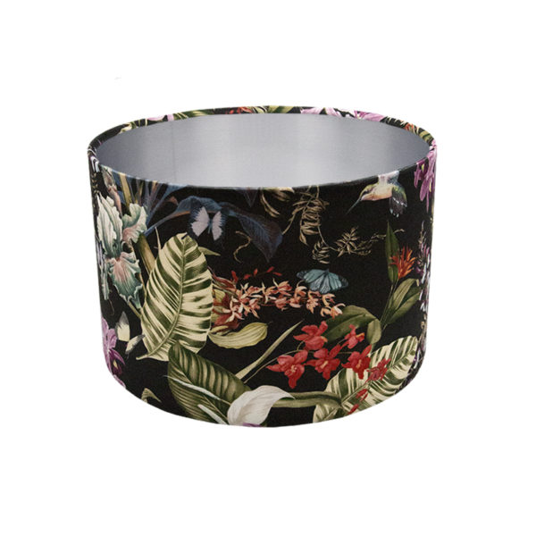 Tropical Floral Velvet Drum Lampshade Brushed Silver Inner