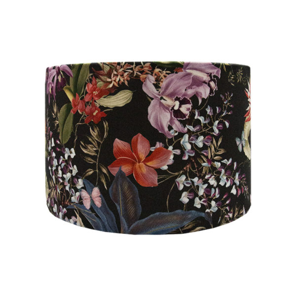 Tropical Floral Velvet Drum Lampshade