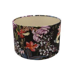 Tropical Floral Velvet Drum Lampshade Champagne Inner