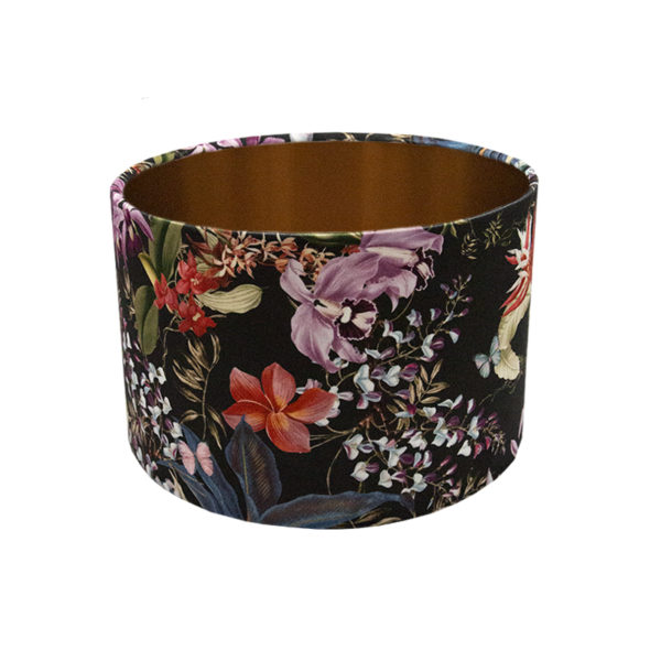 Tropical Floral Velvet Drum Lampshade Brushed Copper Inner
