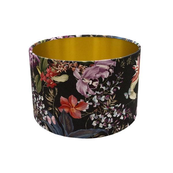 Tropical Floral Velvet Drum Lampshade Brushed Gold Inner