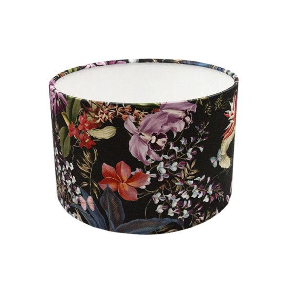 Tropical Floral Velvet Drum Lampshade