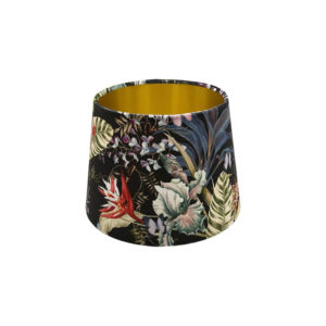 Tropical Floral Velvet French Drum Lampshade Gold Inner