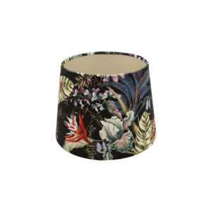 Tropical Floral Velvet French Drum Lampshade Champagne Inner