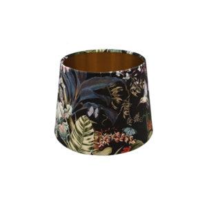 Tropical Floral Velvet French Drum Lampshade Copper Inner