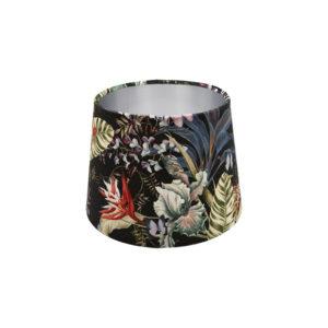 Tropical Floral Velvet French Drum Lampshade Silver Inner