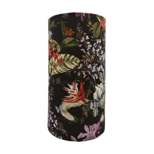 Tropical Floral Velvet Tall Drum Lampshade
