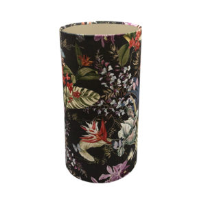 Tropical Floral Velvet Tall Drum Lampshade Brushed Champagne Inner