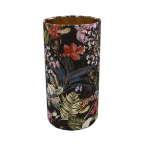 Tropical Floral Velvet Tall Drum Lampshade Brushed Copper Inner