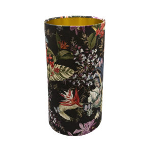 Tropical Floral Velvet Tall Drum Lampshade Brushed Gold Inner