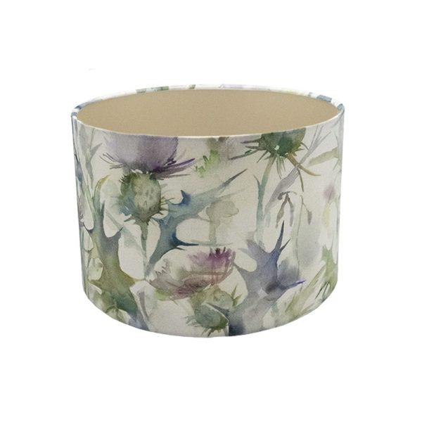 Voyage Cersiun Damson Thistle Floral Drum Lampshade Champagne Inner