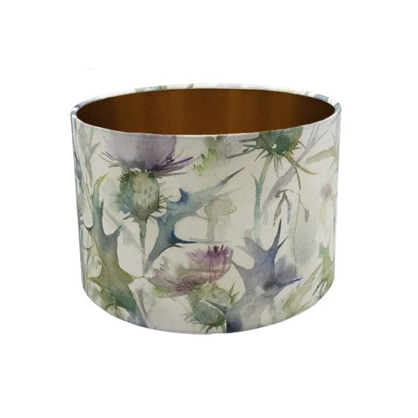 Voyage Cersiun Damson Thistle Floral Drum Lampshade Brushed Copper Inner