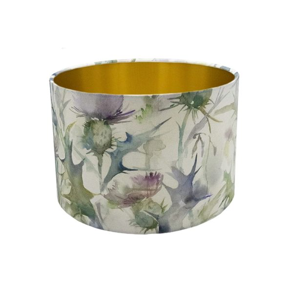 Voyage Cersiun Damson Thistle Floral Drum Lampshade Brushed Gold Inner